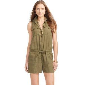 Lauren Ralph Lauren Green Linen Romper Shorts 12